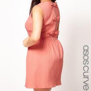 ASOS Curve Peach Babydoll Bow Back Sz 22